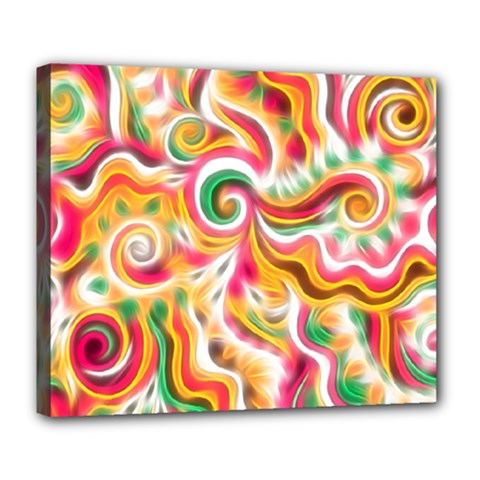 Sunshine Swirls Deluxe Canvas 24  X 20  (framed) by KirstenStar