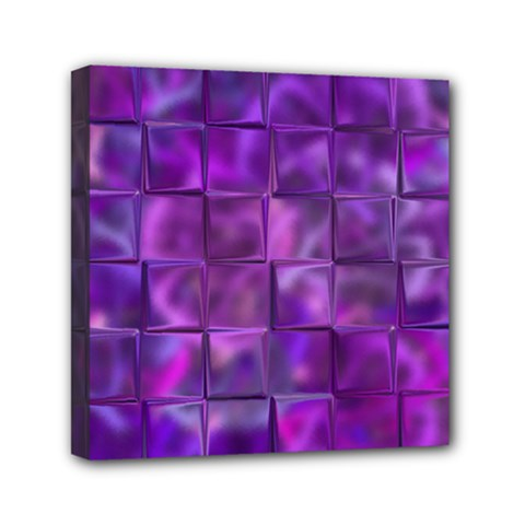 Purple Squares Mini Canvas 6  X 6  (framed) by KirstenStar