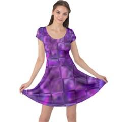 Purple Squares Cap Sleeve Dress