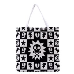 Goth Punk Skull Checkers Grocery Tote Bag by ArtistRoseanneJones