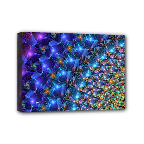 Blue Sunrise Fractal Mini Canvas 7  X 5  (stretched) by KirstenStar