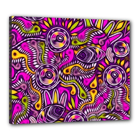 Purple Tribal Abstract Fish Canvas 24  X 20  (framed) by KirstenStar