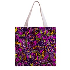 Purple Tribal Abstract Fish Grocery Tote Bag by KirstenStar