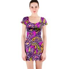 Purple Tribal Abstract Fish Short Sleeve Bodycon Dress by KirstenStar