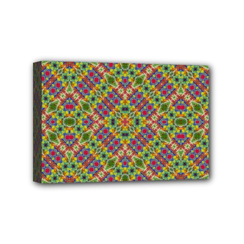 Multicolor Geometric Ethnic Seamless Pattern Mini Canvas 6  X 4  (framed) by dflcprints