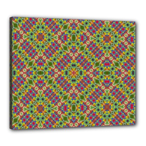 Multicolor Geometric Ethnic Seamless Pattern Canvas 24  X 20  (framed) by dflcprints
