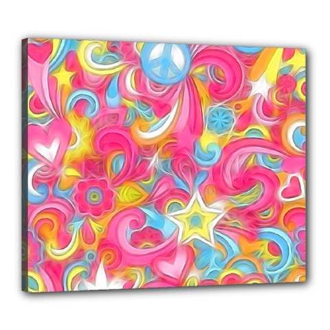 Hippy Peace Swirls Canvas 24  X 20  (framed) by KirstenStar