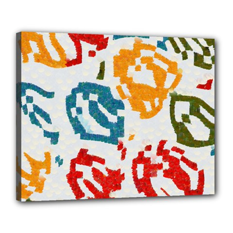 Colorful Paint Stokes Canvas 20  X 16  (stretched) by LalyLauraFLM