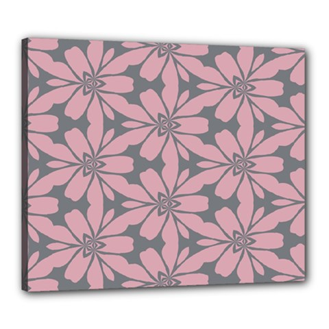 Pink Flowers Pattern Canvas 24  X 20  (stretched) by LalyLauraFLM