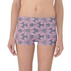 Pink Flowers Pattern Boyleg Bikini Bottoms