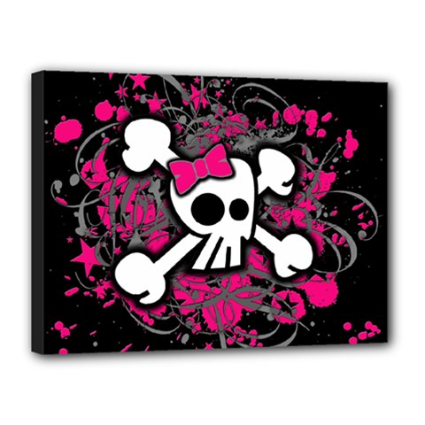 Girly Skull And Crossbones Canvas 16  X 12  (framed)