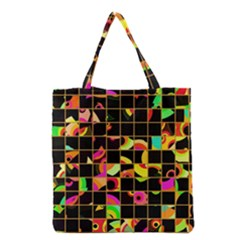 Pieces in squares Grocery Tote Bag by LalyLauraFLM