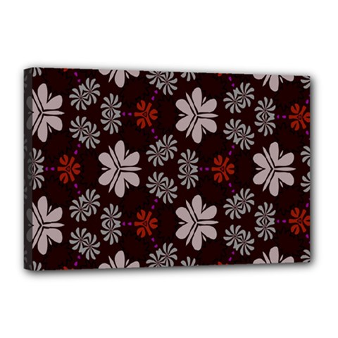 Floral Pattern On A Brown Background Canvas 18  X 12  (stretched) by LalyLauraFLM