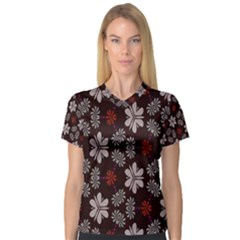 Floral pattern on a brown background Women s V-Neck Sport Mesh Tee by LalyLauraFLM