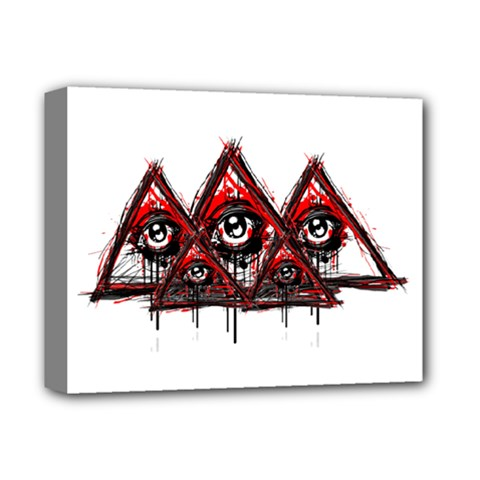 Red White Pyramids Deluxe Canvas 14  X 11  (framed) by teeship