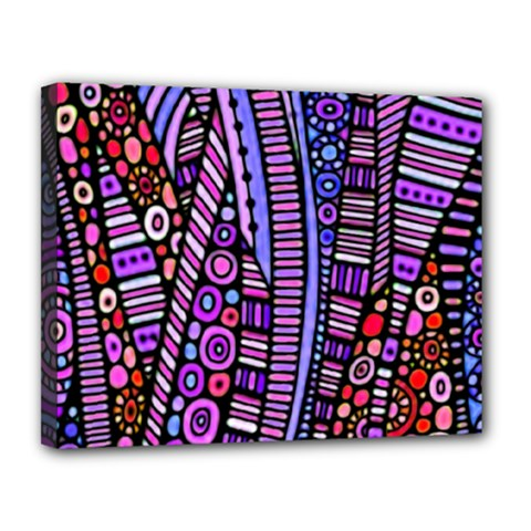 Stained glass tribal pattern Canvas 14  x 11  (Framed) by KirstenStar