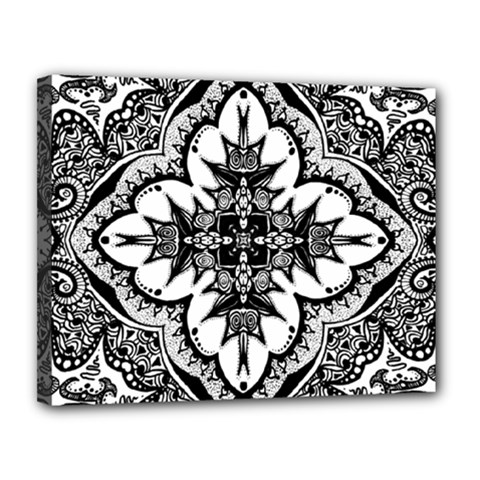 Doodle Cross  Canvas 14  X 11  (framed) by KirstenStar