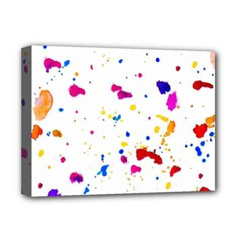 Multicolor Splatter Abstract Print Deluxe Canvas 16  X 12  (framed)  by dflcprints