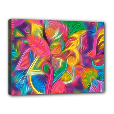 Colorful Floral Abstract Painting Canvas 16  x 12  (Framed) by KirstenStar