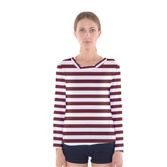 Marsala Stripes Women s Long Sleeve T-shirt by ElenaIndolfiStyle