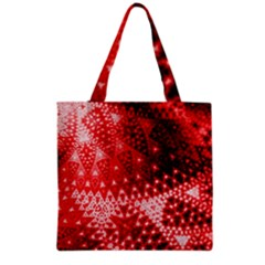 Red Fractal Lace Grocery Tote Bag