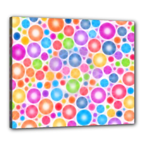 Candy Color s Circles Canvas 24  X 20  (framed) by KirstenStar