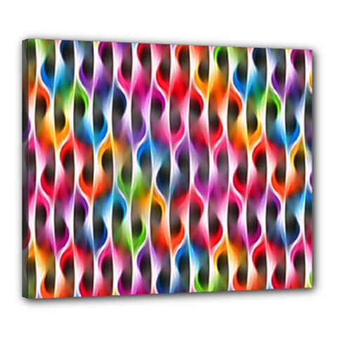 Rainbow Psychedelic Waves Canvas 24  X 20  (framed) by KirstenStar