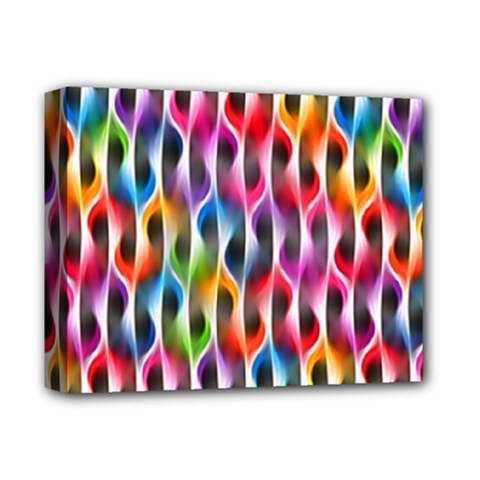 Rainbow Psychedelic Waves Deluxe Canvas 14  x 11  (Framed) by KirstenStar