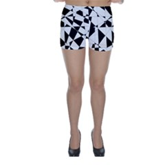 Shattered Life In Black & White Skinny Shorts by StuffOrSomething