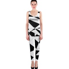 Shattered Life In Black & White Onepiece Catsuit