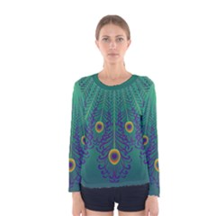 Peacock Emerald Women s Long Sleeve T-shirt by olgart