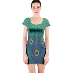 Peacock Emerald Short Sleeve Bodycon Dress by olgart