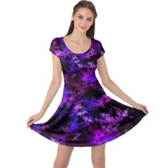 Purple Skulls Goth Storm Cap Sleeve Dress
