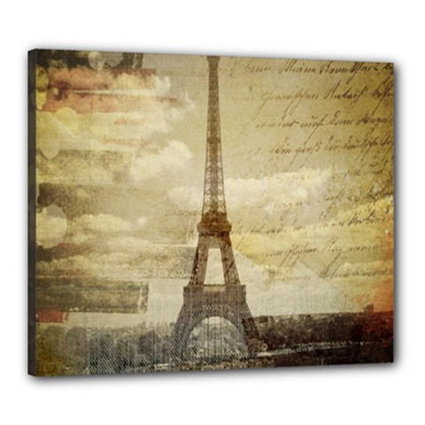 Elegant Vintage Paris Eiffel Tower Art Canvas 24  X 20  (framed)