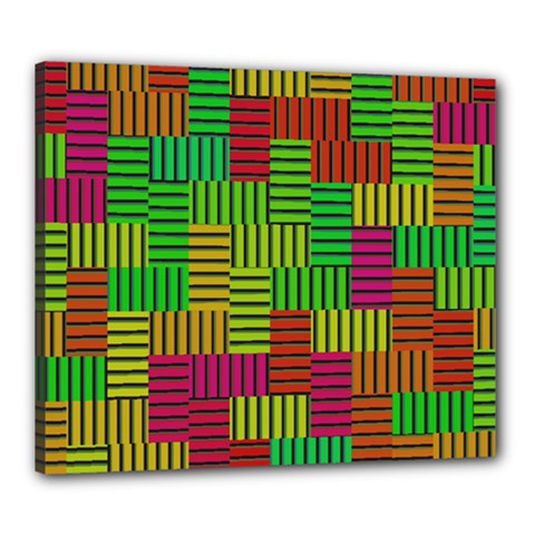 Colorful Stripes And Squares Canvas 24  X 20  (stretched) by LalyLauraFLM