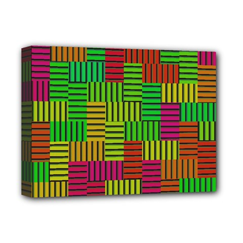 Colorful Stripes And Squares Deluxe Canvas 16  X 12  (stretched)  by LalyLauraFLM