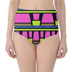 Trapeze And Stripes High Waist Bikini Bottoms by LalyLauraFLM