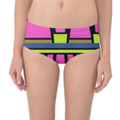 Trapeze And Stripes Mid Waist Bikini Bottoms by LalyLauraFLM