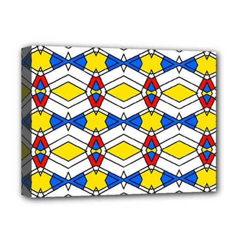 Colorful Rhombus Chains Deluxe Canvas 16  X 12  (stretched)  by LalyLauraFLM