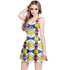 Colorful Rhombus Chains Sleeveless Dress