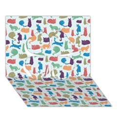 Blue Colorful Cats Silhouettes Pattern Clover 3d Greeting Card (7x5)