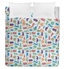 Blue Colorful Cats Silhouettes Pattern Duvet Cover (full/queen Size)