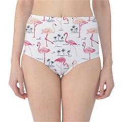 Flamingo Pattern High Waist Bikini Bottoms