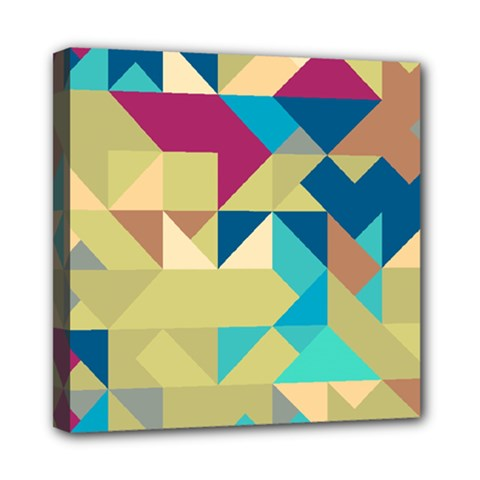 Scattered Pieces In Retro Colors Mini Canvas 8  X 8  (stretched) by LalyLauraFLM