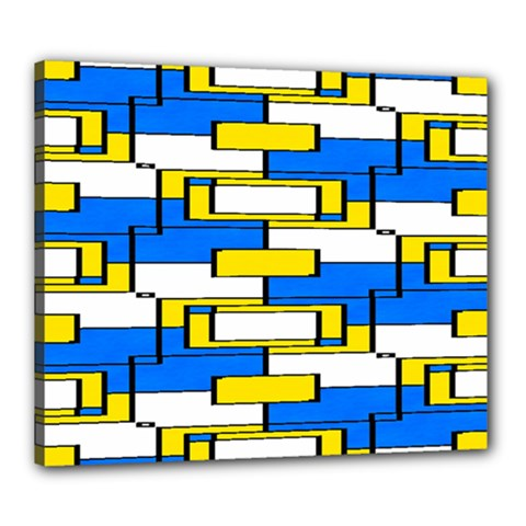 Yellow Blue White Shapes Pattern Canvas 24  X 20  (stretched) by LalyLauraFLM
