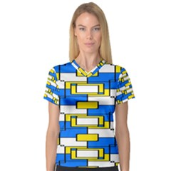 Yellow Blue White Shapes Pattern Women s V Neck Sport Mesh Tee