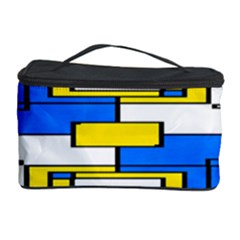 Yellow blue white shapes pattern Cosmetic Storage Case