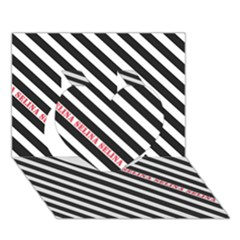 Selina Zebra Heart 3d Greeting Card (7x5)  by Contest580383