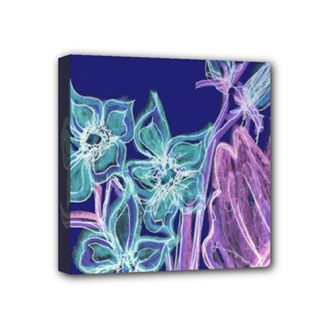 Purple, Pink Aqua Flower Style Mini Canvas 4  X 4  by Contest1918526