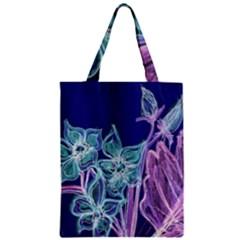 Purple, Pink Aqua Flower Style Zipper Classic Tote Bags